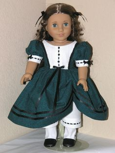 Handmade Dress Marie Grace Cecile 18 inch Doll Clothes GreenFern - Exclusively Linda Doll Clothes