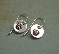 For Abby's birthday! Finally allowed to have dangly earrings!    Hand Stamped Drop Earrings  Sterling Silver by TinyTokensDesigns, $13.00