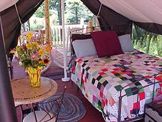 Pagett Farm has a bed and breakfast where you can stay in a yurt, or a Colorado Yurt wall tent. In Palermo, Maine (hour north of Portland) Luxury Camping Tents, Tent Camping, Glamping, Camping Ideas, Tent Platform, Outdoor Spaces, Outdoor Decor, Outdoor Bedroom, Wall Tent