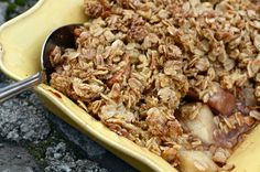 Gluten-free but not sugar-free by any means. The pear-apple crisp caught my eye and randomly inspired me to make a tropical version. Spiced banana and pineapple with a coconut granola topping.... oh yeah.