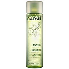 Caudalie - Make-Up Remover Cleansing Water   if you don't know about micellar waters you are missing the boat. these remove EVERYTHING while leaving the skin comfortable and bright.