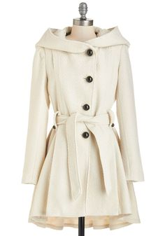 Once Upon a Thyme Coat in Almond. This coat by Steve Madden showcases a neutral hue, elegant pleats, and a cape-inspired neckline wrap that's a fairy-tale-come-true! #cream #modcloth