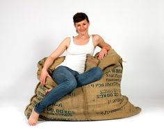 Coffee bean bag - Recycled design that turns eight used coffee bags into a comfy bean bag chair.