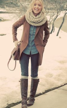 Button-up, jacket, chunky scarf, jeans, leg warmers, boots