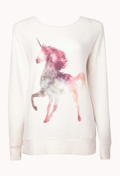 FOREVER 21 Unicorn Sleep Sweatshirt Cream/Multi Large from Forever 21. Saved to Clothes, shoes, and things. #clothes #majestic #unicorn #hatersgonnahate #glee.