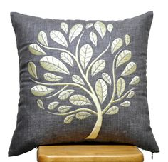 Light Yellow Peacock on Grey Linen PIllow Cover,