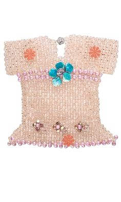 Doll Dress with Czech Fire-Polished Glass Beads and Cultured Freshwater Pearls