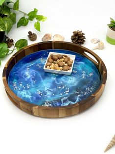 Resin Uses, Wood Rounds, Wood Tray, Poker Table, Safe Food, Rustic Wood, House Warming, Coffee, Blue
