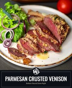 Bottom Round Done Right Do you Crave Flavor? Let me introduce you to the Parmesan crusted venison bottom round steak. Just a bit of background, I carved my mule deer bottom round roast into 5 thick individual steaks.