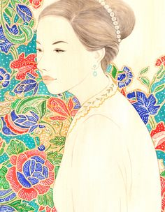 Behance : Nyonya Girl / Peranakan Lady - Hand drawn watercolor by Ong siew Guet