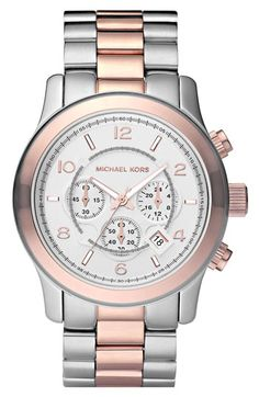 Michael Kors 'Large Runway' Two Tone Chronograph Watch | Nordstrom