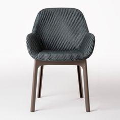 Kartell - Clap - Fauteuil tissu - graphite/piètement taupe/étoffe de rayons d'hexagone