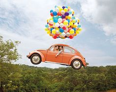 """Karina Ekaretna and Erick Tanzil """"emark"""" on new adventures in a vintage Volkswagen Beetle, and plenty of helium balloons. So Up!"""