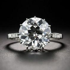 Diamond Rings : 4.86 Carat European-Cut Diamond and Platinum Engagement Ring (GIA  I/SI2)