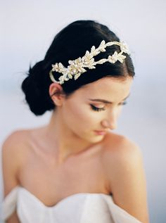 Flexible beaded bridal headband in ivory and gold
