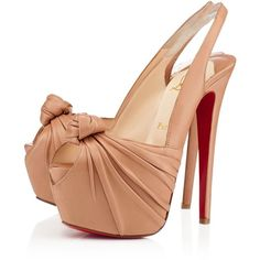 Christian Louboutin Womens miss benin 160mm nude leather Platforms ❤ liked on Polyvore featuring shoes, louboutin, high heel slingback shoes, nude shoes, sexy platform shoes, high heel shoes and leather slingback shoes