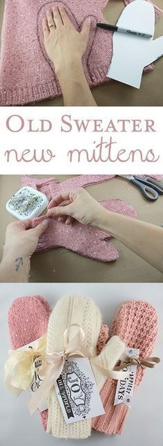 DIY Christmas Gifts – My Honeys Place DIY Sweater Mittens Christmas Gift. Take an old sweater and make new mittens. Fabric Crafts, Sewing Crafts, Alter Pullover, Diy Pullover, Pullover Upcycling, Diy Cadeau Noel, Sewing Patterns, Crochet Patterns, Knitting Patterns