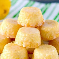 Recipe for Bite Sized Lemon Drop Cakes - these mini lemon cakes are drenched in a delicious lemon glaze, and they practically melt in your mouth! An unbeatable lemon treat. Crockpot Recipes, Snack Recipes, Dessert Recipes, Flour Recipes, Salad Recipes, Mini Desserts, Delicious Desserts, Lemon Desserts, Italian Lemon Pound Cake