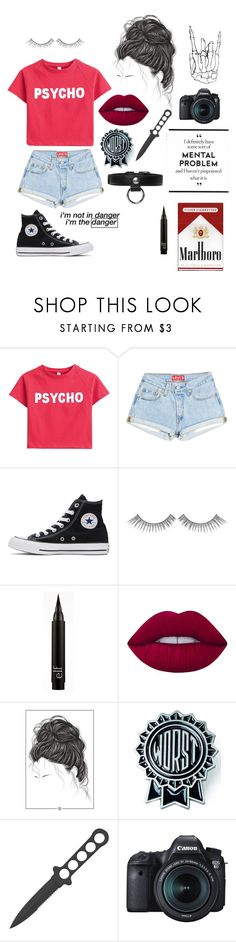 """""""My straight jacket is custom made"""" by heyitsjul ❤ liked on Polyvore featuring Converse, Sephora Collection, Lime Crime, Sourpuss, Eos and Carven"""
