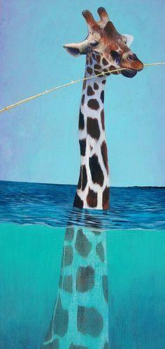 "Saatchi Online Artist: Robert Post; Acrylic, 2012, Painting ""Perry-scope""Ayer soñe que me regalaban un jirafa bebe."