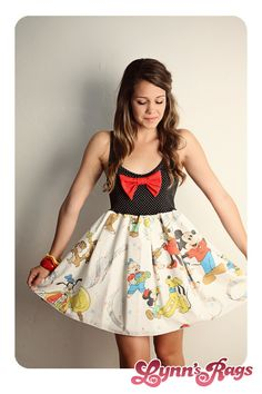 Disney Mickey Mouse Music BAND Tank Dress Black Red BOW Handmade. $55.00, via Etsy...I MUST HAVE!!!