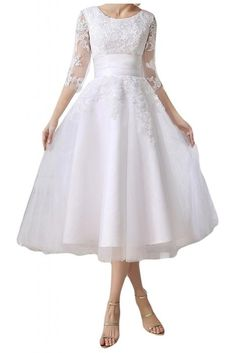 MILANO BRIDE Attractive Tea Length 1/2 Sleeves Jewel Satin Reception Dresses-2-White