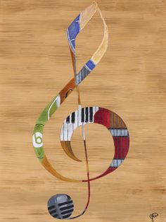 Title: The Clef Note For the love of music that speaks to your heart. Paper Print: Size Range/Price 8x10-20x26/$17.82-$100.98 Canvas Print: Size Range/Price 8x10-20x26/$54.00-$220.32 #artist #paint #painting #musicians #instruments #drums #guitarra #piano #violin