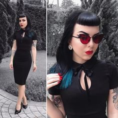 Rockabilly Looks, Rockabilly Fashion, Pin Up Outfits, Pretty Outfits, Vintage Goth, Vintage Fashion, Goth Look, Goth Style, Beatnik Style