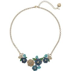 Betsey Johnson Skulls and Roses Flower Mini Frontal Necklace ($65) ❤ liked on Polyvore featuring jewelry, necklaces, charm necklace, rose necklace, flower necklace, chain necklaces and daisy chain necklace