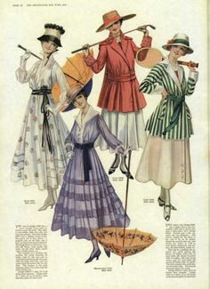 Amazing 1900's fashions-- 1916 is an exact date, love the green striped jacket, and the purple & the white dress are very summery.