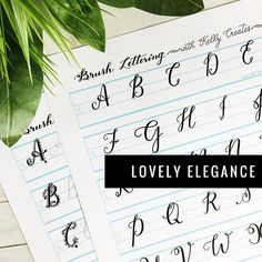 Learn Brush Lettering with Practice worksheets for tracing lovely modern calligraphy script by the popular Kelly Creates perfect style Lettering Brush, Hand Lettering, Lettering Ideas, Calligraphy Pens, Modern Calligraphy, Tombow Fudenosuke, Uppercase Alphabet, Letter Form, Pen And Paper
