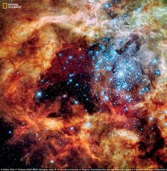 This huge, young stellar grouping, called R136, is only a few million years old and resides in the 30 Doradus Nebula, a turbulent star-birth region in the Large Magellanic Cloud, a satellite galaxy of the Milky Way