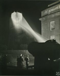 """Edward Chambre Hardman, """"Searchlight on Anglican Cathedral,"""" 1951."""