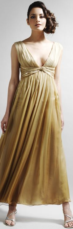 Gold silk couture dress from the UK. You can buy it online. #woodland #wedding #dress - It's ballet length. - read about woodland weddings - article - http://www.boomerinas.com/2014/10/17/woodland-wedding-dresses-ideas-for-wedding-2-or-3-or-4-or-whatever/