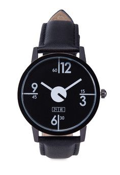 Men's Faux Leather Strap Watch | Black Men's Faux Leather Strap Watch by 24:01 features a casual design with a minimalistic display. Get a 15% discount with this voucher code: ZBAPQF5I