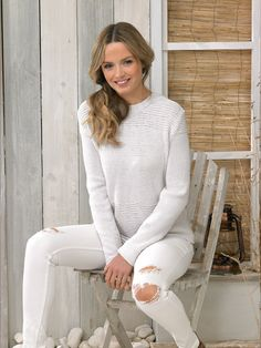 James C Brett Sweater and Top in It's Pure Cotton DK weight yarn. From 8 years to x-large adult. Warm Weather, White Jeans, Knit Crochet, Crochet Patterns, Knitting, Lady, Crocheting, Sweaters, Cotton