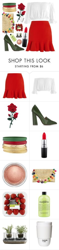 """""""Cinco de Mayo Inspired Outfit!"""" by following-everyone ❤ liked on Polyvore featuring SemSem, Sans Souci, Tory Burch, MAC Cosmetics, philosophy, Nude and ROOM COPENHAGEN"""