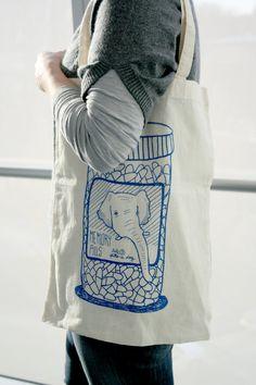 Elephant Memory Pills Cotton Tote Bag by slothsundays on Etsy