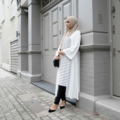 INAYAH | White Georgette Kimono + White and Black Pinstripe Midi + Mushroom Georgette Hijab + Black Tapered Trousers
