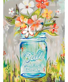 Ball Perfect Mason Jar by Katie Daisy Framed Painting Print on Wrapped Canvas