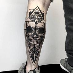 Fresh Blackwork Leg Tattoo From Otheser! #blackwork #skull #leg #dotwork #dotism #geometry #geometrical