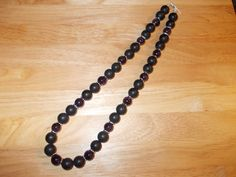 Amethyst and frosted black agate long length necklace £15.00