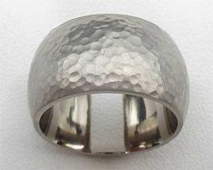 Wide Hammered Silver Wedding Ring   UK Made! Wedding Ring For Him, Cool Wedding Rings, Silver Wedding Rings, Hammered Silver, Sterling Silver Rings, Jewelry Rings, Rings For Men, Jewelry Making, Jewels