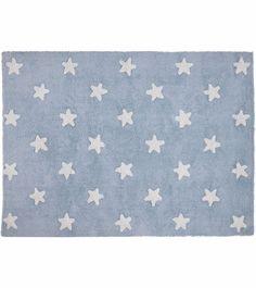 Tapete Estrelas Azul Claro e Branco