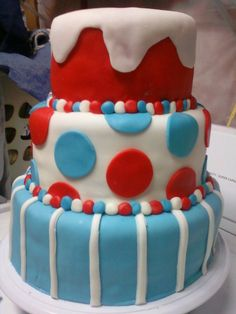 Seuss Birthday Cake This is the very first cake I've ever made that was frosted outside of the pan - so first time making a. Baby Boy First Birthday, Birthday Fun, 1st Birthday Parties, Birthday Ideas, Dr Seuss Cake, Dr Suess, Holiday Party Themes, Party Ideas, Cake Smash