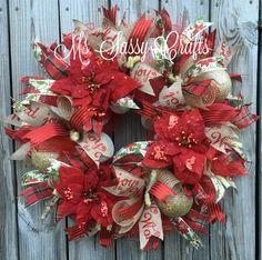 Christmas Wreath - Poinsettia Wreath - Red and Gold Christmas Wreath - Christmas…