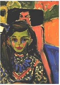 Fränzi perante uma cadeira talhada (1910), de Ernst Ludwig Kirchner, Museu Thyssen-Bornemisza, Madrid.