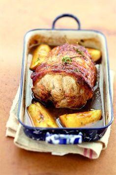Rôti de porc au cidre et aux pommes