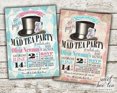 Alice in Wonderland Baby Shower Invitation by SweetBeeTeaBoutique