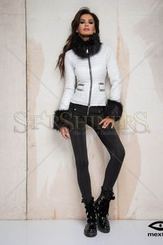Mexton Fancy Boutique White Jacket Great Cuts, How To Get Warm, Warm Sweaters, Warm Outfits, Product Label, Faux Fur Jacket, Clothing Items, My Outfit, Blazer Jacket